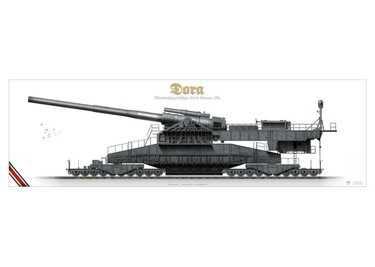 DORA Eisenbahngeschütz 80cm kanone KP-052